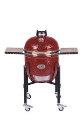 MONOLITH GRILL - red incl. stainless-steel cart and side shelves